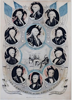 """The Presidents of the US,"" original handcolored lithograph by Nathaniel Currier"