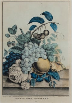 """Fruit & Flowers,"" original hand-colored lithograph by Nathaniel Currier"