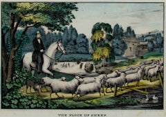 """The Flock of Sheep,"" original hand-colored lithograph by Kellogg"