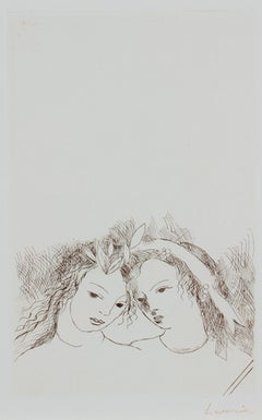 """""""Jean & Sappho,"""" sepia portrait etching by Marie Laurencin"""