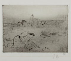 """""""Woman in Field,"""" drypoint on watermarked paper by Louis Legrand"""