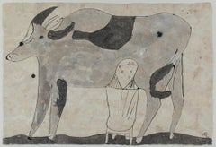 """Woman Milking a Cow,"" ink on handmade amate paper by Miguel Castro Leñero"