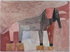 """Elefante,"" mixed media painting on handmade paper by Miguel-Castro Leñero"