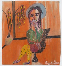 """Waiting Chitra,"" pastel on grocery bag by Reginald K. Gee"