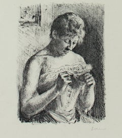 """""""Woman Manicuring Her Nails,"""" original lithograph by Maximilien Luce"""
