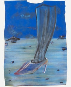 """Leg & Shoe in Blue,"" oil pastel on grocery bag by Reginald K. Gee"