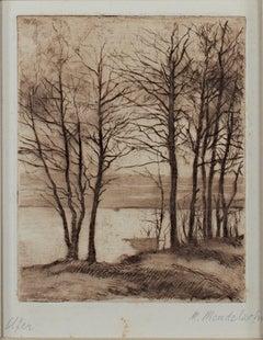 """Ufer (Shoreline),"" sepia landscape etching by Maria Mendelssohn"