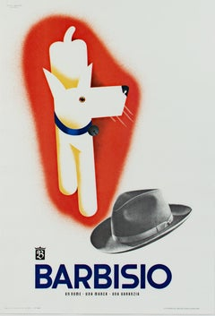 """Barbisio, Dog & Hat,"" original lithograph poster by Giovanni Mingozzi"
