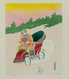 """""""En Auto,"""" original color lithograph by Singils"""