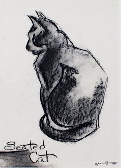 """Seated Cat,"" charcoal drawing with stamped signature by Sylvia Spicuzza"