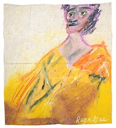 """Tired Person,"" figurative oil pastel drawing on grocery bag by Reginald K. Gee"