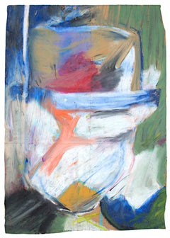 """""""Soft Portrait with Bolder,"""" oil pastel on paper bag by Reginald K. Gee"""