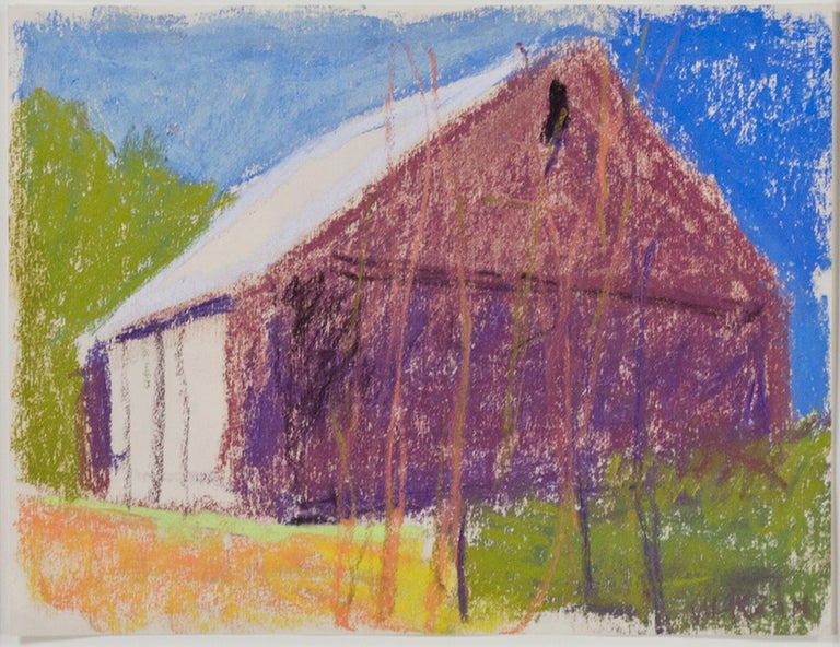 """""""Dark Barn with White Doors"""" is an original pastel drawing on paper by Wolf Kahn. The artist signed the piece lower right. The frame on this artwork is 23k gold leaf. This artwork features a purple barn with bare trees in front rising above a green"""