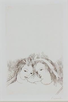 """Jean & Sappho,"" original portrait sepia etching by Marie Laurencin"