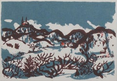 """Skiing Near Holy Hill,"" original silkscreen landscape by Schomer Lichtner"