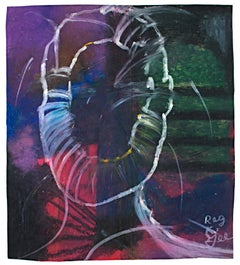"""""""The Extrovert, Aura,"""" abstract oil pastel on grocery bag by Reginald K. Gee"""