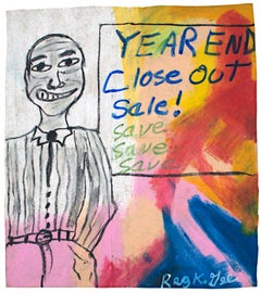 """""""Year End Close Out Sale,"""" oil pastel on grocery bag by Reginald K. Gee"""