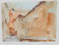 """Castle Wall in Tuscany,"" Italian architectural watercolor by Craig Lueck"