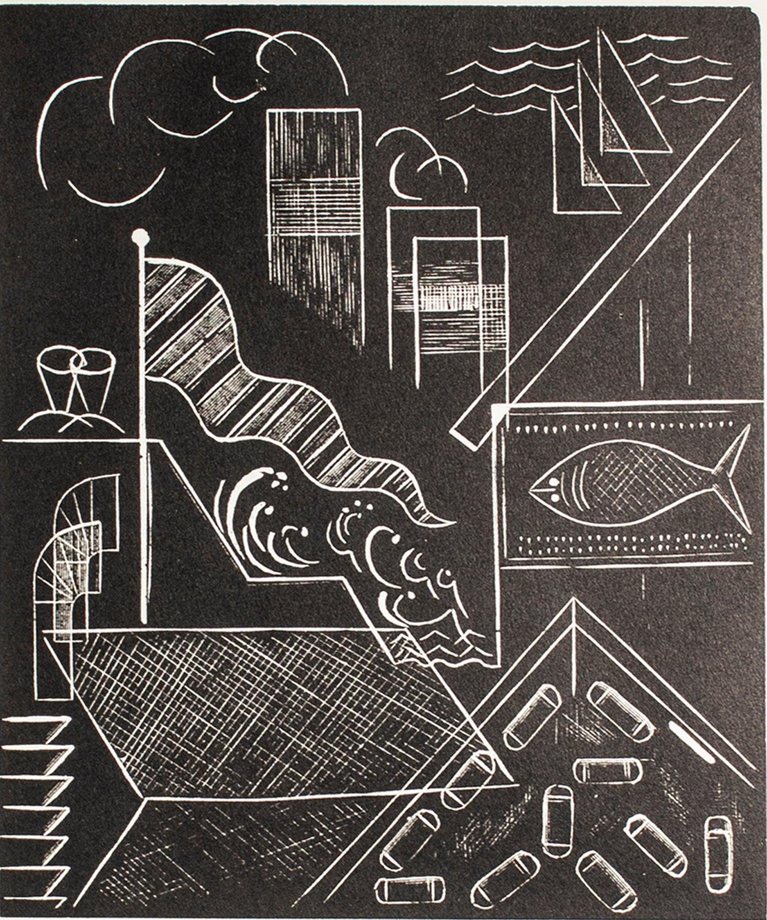 """""""Milwaukee Harbor,"""" Wood Engraving by Lowell Merritt Lee"""