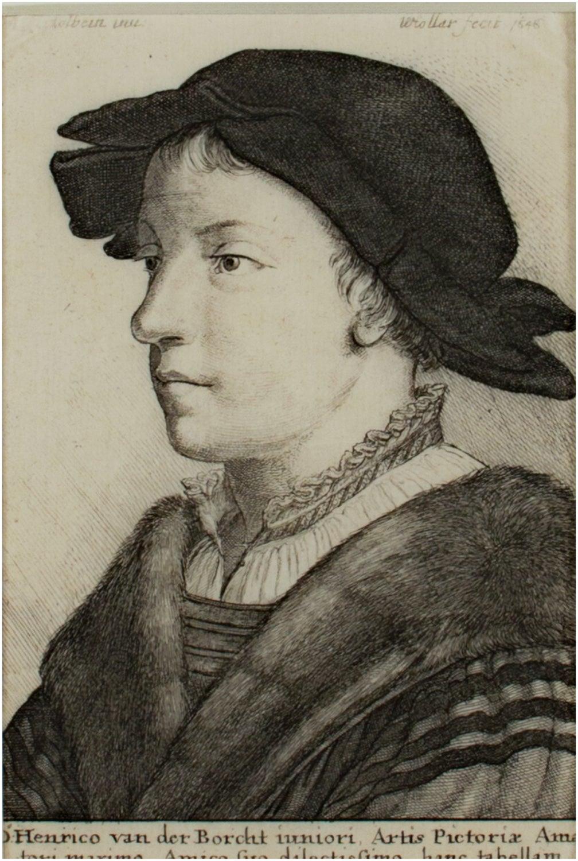 'Portrait of Henrico van der Borcht,' original W. Hollar engraving after Holbein