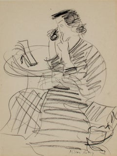 """Sally Phone Call,"" Pencil Drawing signed by Milton Avery"
