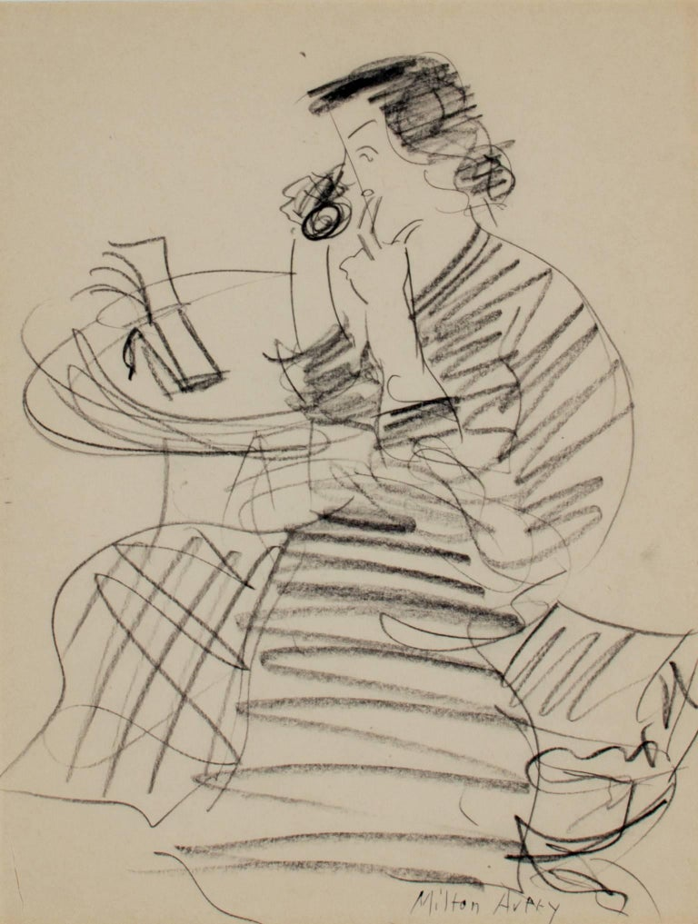 A pencil on paper figurative drawing by American artist Milton Avery depicts his wife, Sally Avery, on the telephone. The table depicted in the drawing was in the front entrance to Sally Avery's apartment at 300 Central Park West in New York City.