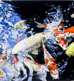 """Koi Fish II,"" Oil on Linen Photo-realistic Painting signed by Leslie Parke"