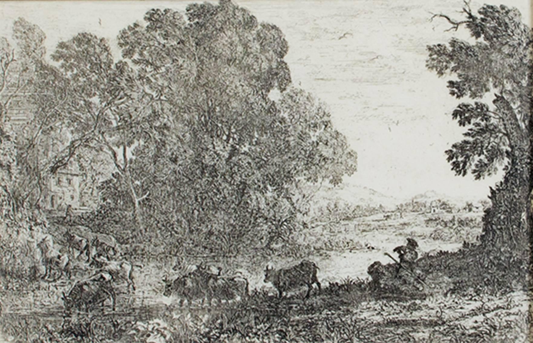 """""""Le Bouvier (The Cowherd),"""" Landscape Etching by Claude Gelle Le Lorrain"""