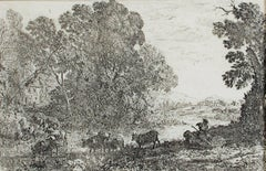 """Le Bouvier (The Cowherd),"" Landscape Etching by Claude Gelle Le Lorrain"