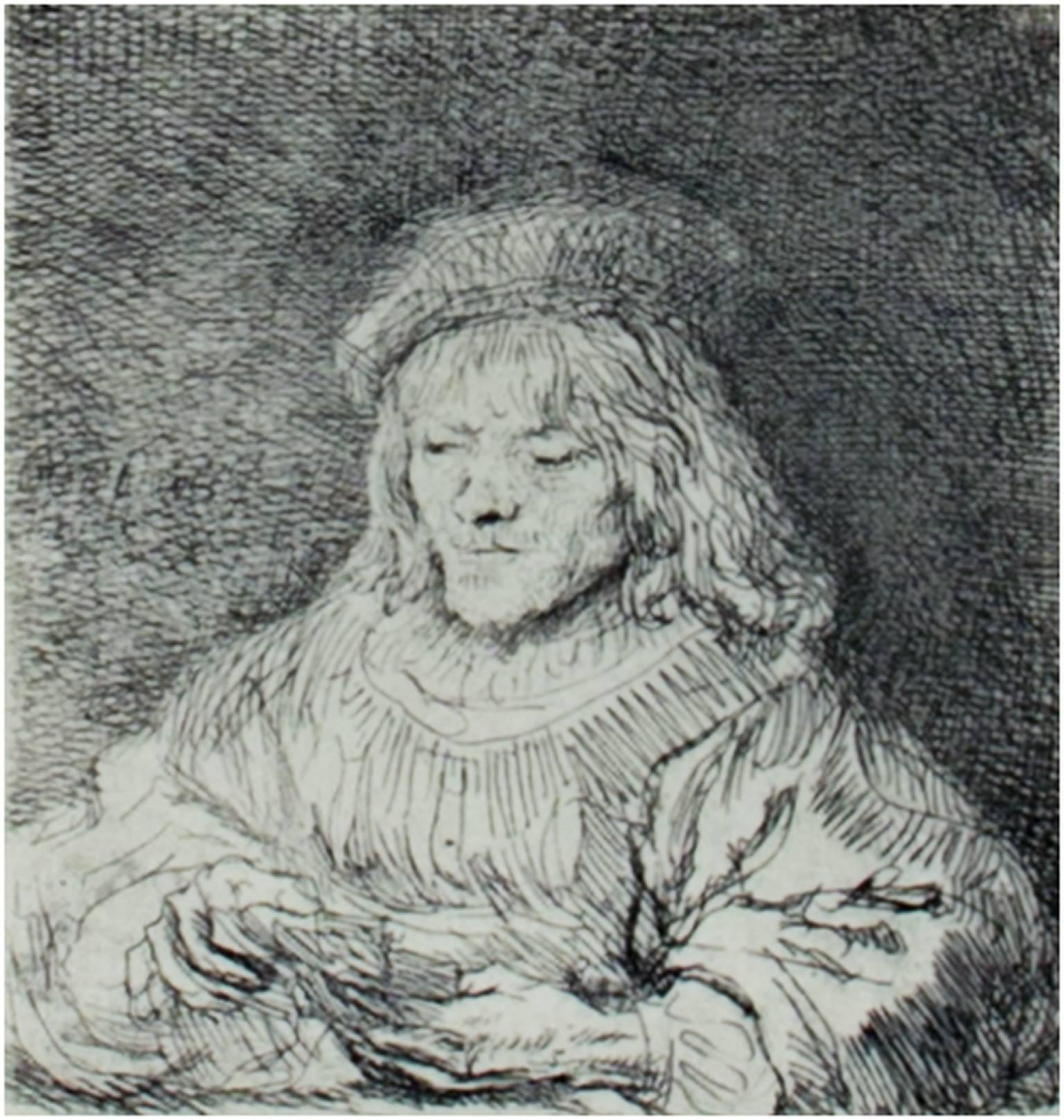 """""""The Card Player,"""" etching by Rembrandt van Rijn"""