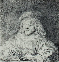 """The Card Player,"" etching by Rembrandt van Rijn"