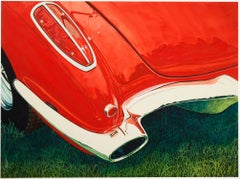 """'58 Corvette,"" Watercolor Close up signed by Bruce McCombs"