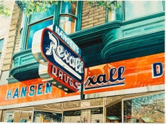 """Hansen's Rexall Drugs,"" Watercolor City View signed by Bruce McCombs"