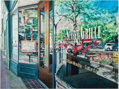 """Reflection 8th Street Grille,"" Watercolor Cityscape signed by Bruce McCombs"