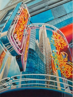 """Neon Sign, N.Y.C.,"" Watercolor Cityscape signed by Bruce McCombs"
