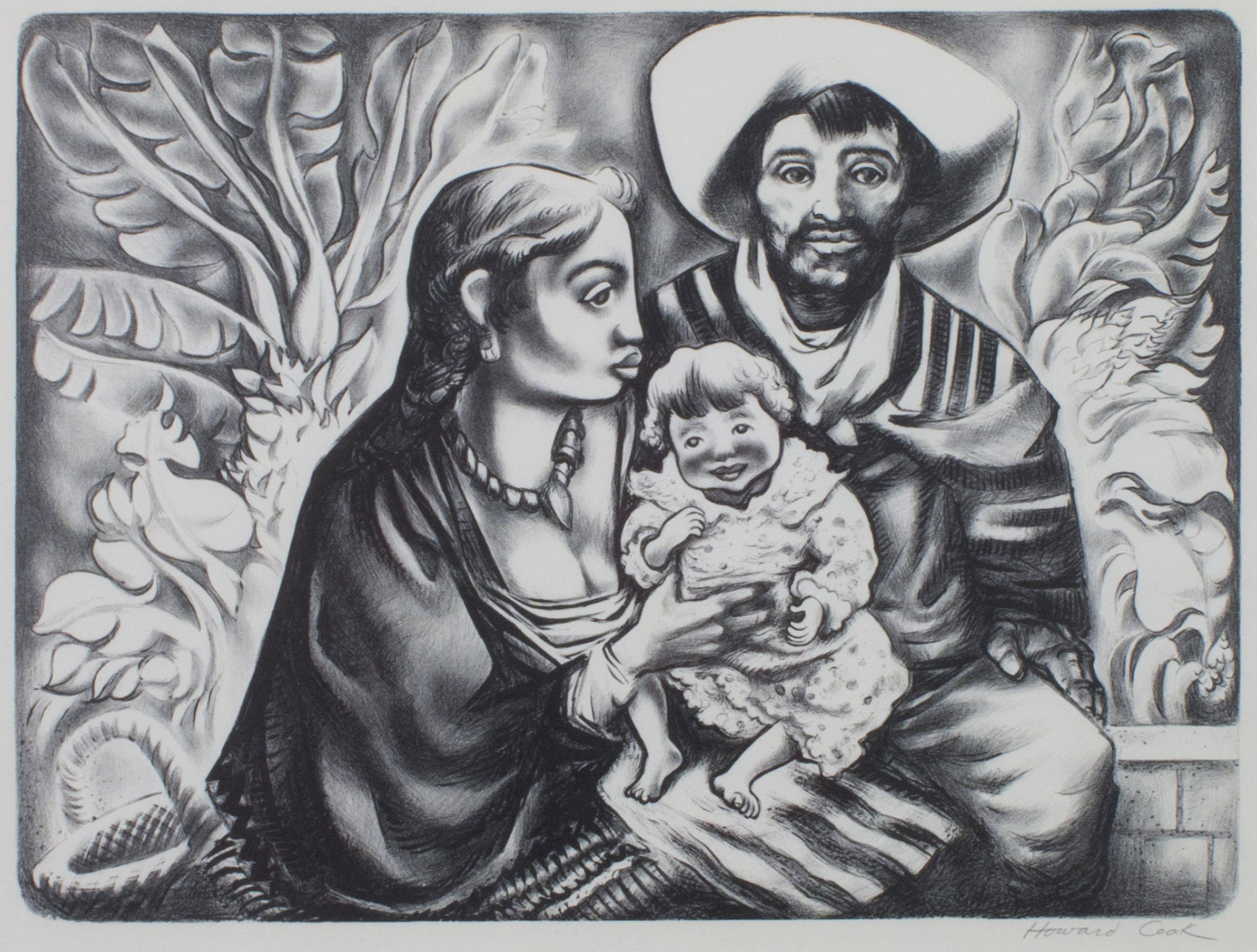 """Mexican Family,"" Black & White Lithograph Family Portrait signed by Howard Cook"