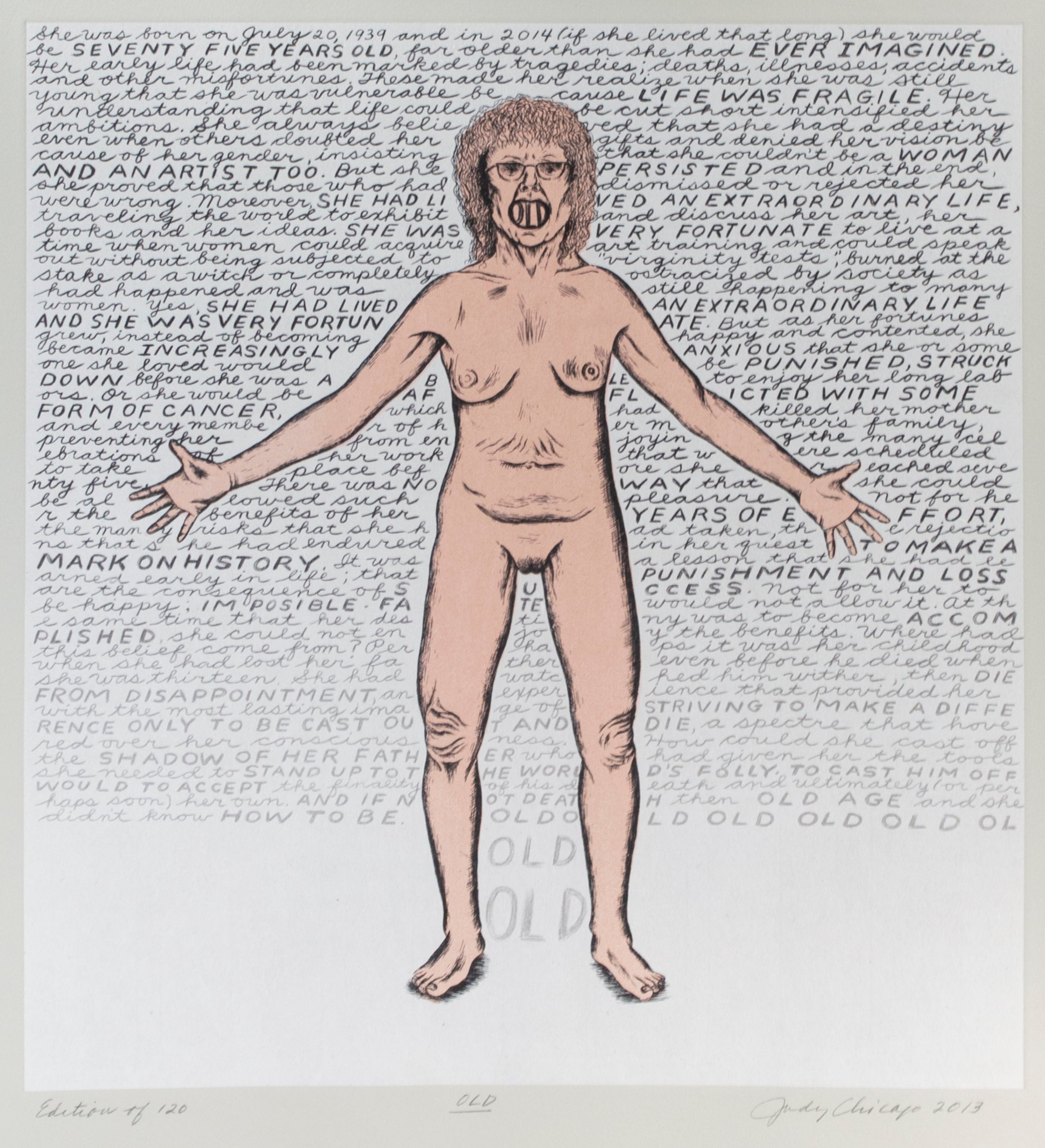 'Old,' original signed print by Judy Chicago from Madison Print Club