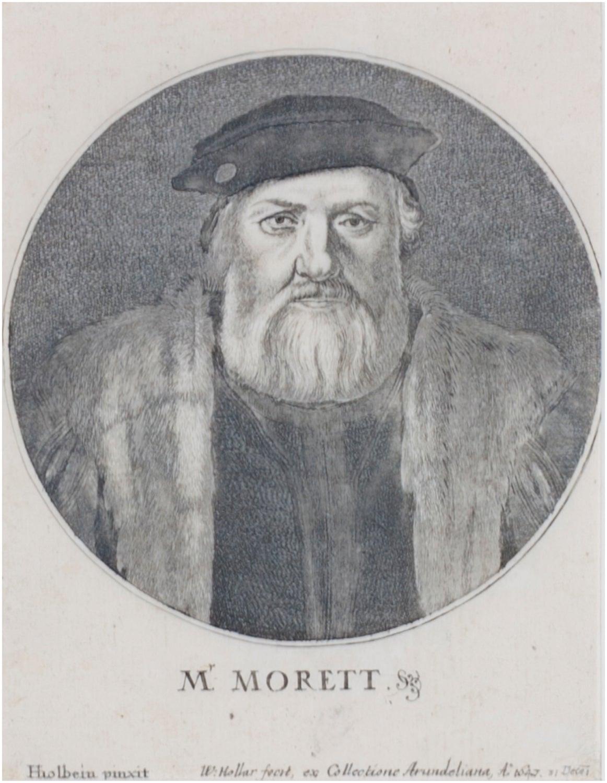 'Portrait of M. Morett,' original Wenceslaus Hollar engraving after Hans Holbein