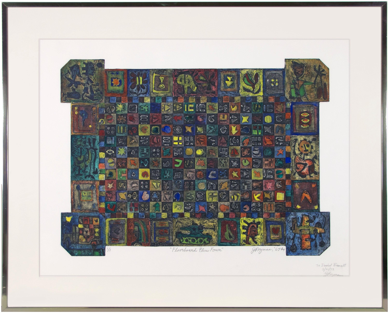 'Floorboard Plus Four' original collagraph signed by Joseph Rozman