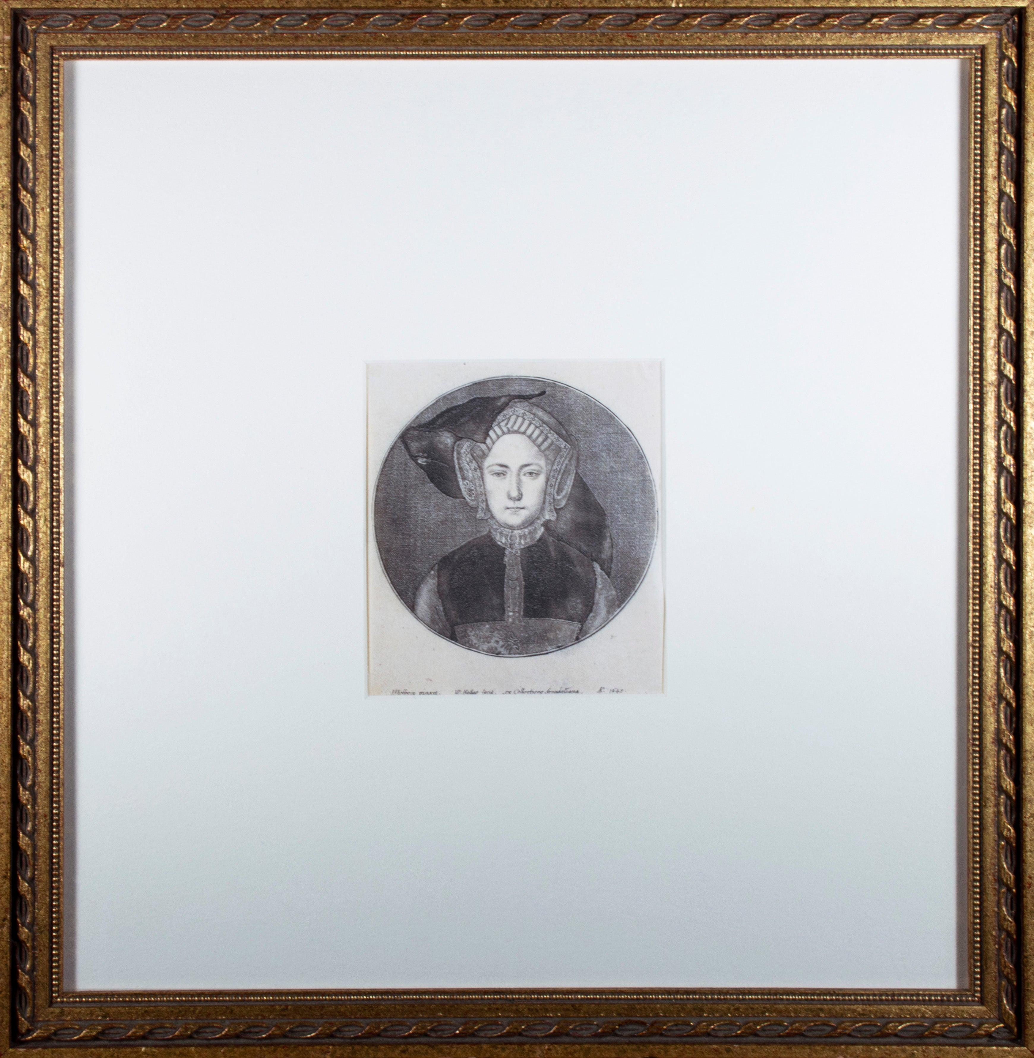'Portrait of a Young Woman' original Hollar engraving after Hans Holbein