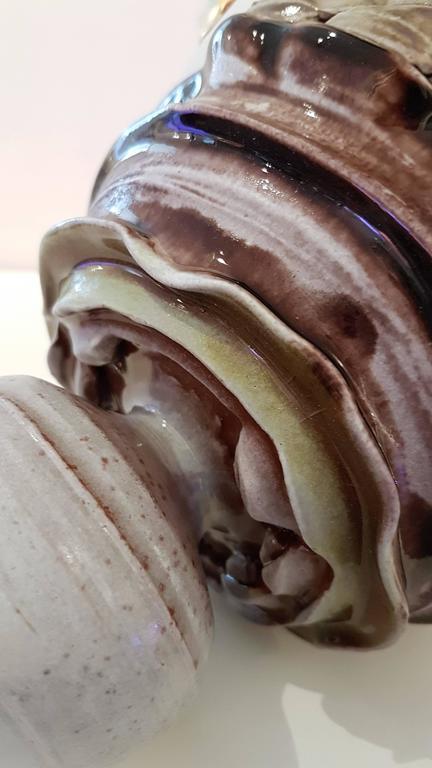 Monumental Covered Jar #2 - Beige Abstract Sculpture by Mariko Brown Harkin
