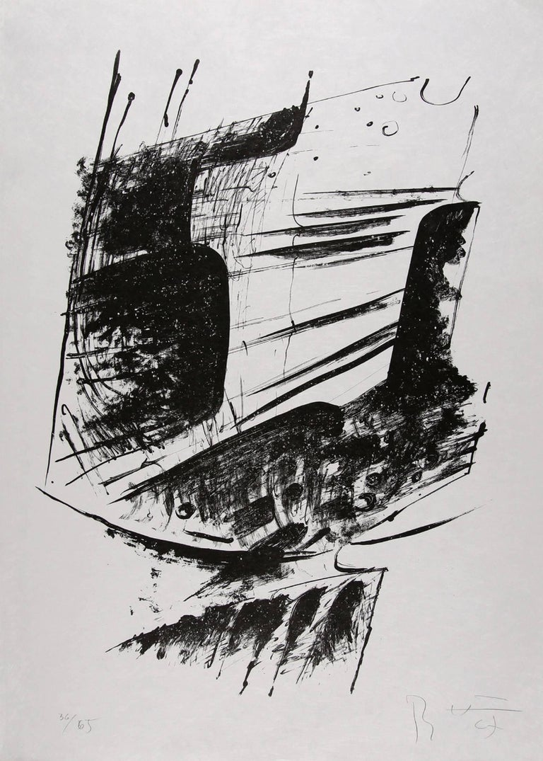Bernhard Heiliger Figurative Print - Untitled Abstract Expressionist Composition