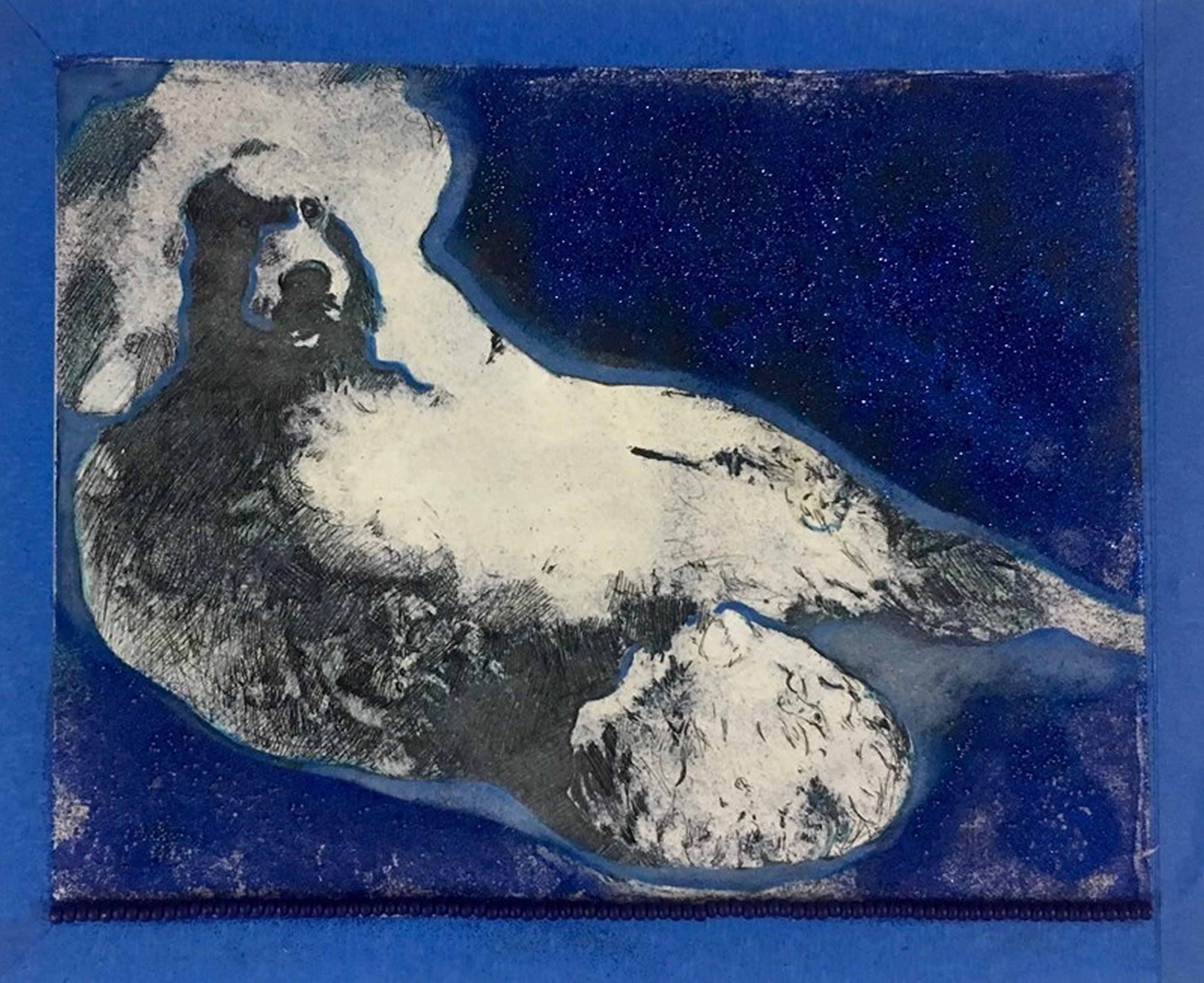 BLUE POODLE (Gum Arabic print)