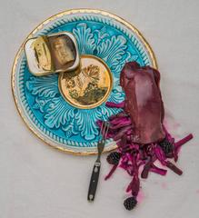 Platter with Kidney, Blackberries, Kimchi, Eel