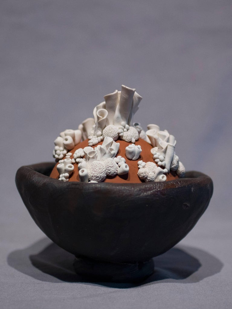 Title : Anthozoa Blanca Materials : Black Stoneware, Oil-Based Clay and Sand Date : 11-15-17 Dimensions : 5x5x5