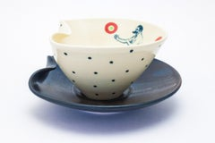 Lithograph printed soup bowl with plate