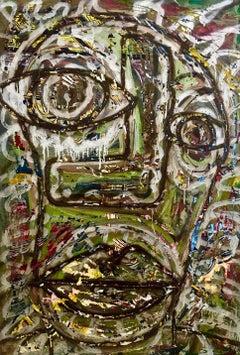 """""""Faccia Ubriaca"""" by Enzio Wenk, 1993 - 1997 - Mixed Media on Canvas"""