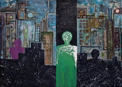 """Notturno Paulista"" by Enzio Wenk, 2004 - Mixed Media on Canvas, Surrealism"