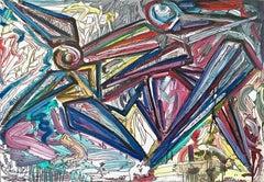 """Scontro tra due personaggi"" by Enzio Wenk, 2010 - Acrylic, Neo-Expressionism"