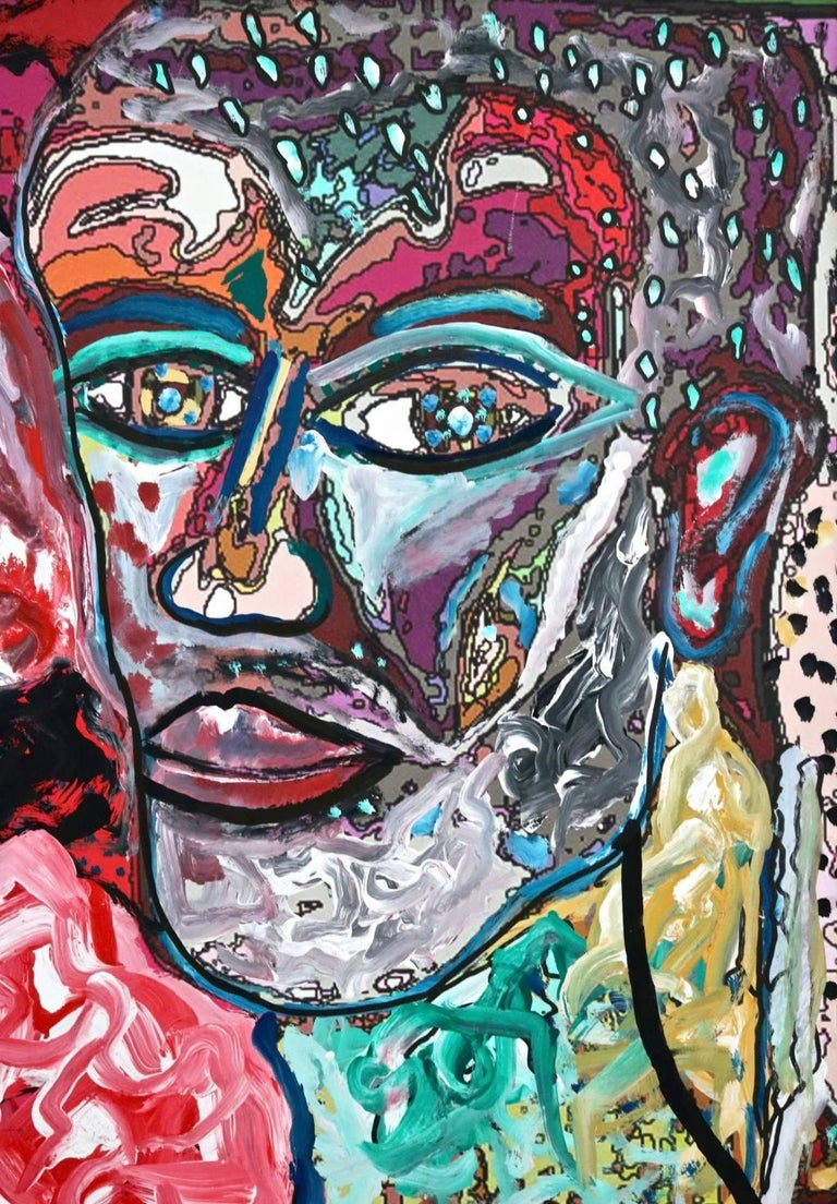Enzio Wenk Abstract Painting - Self Portrait